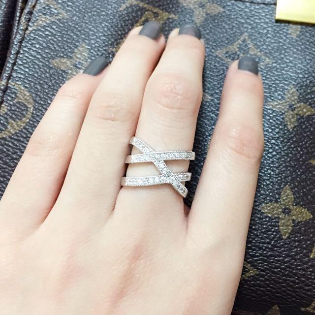 正韓銀色鑽飾戒指