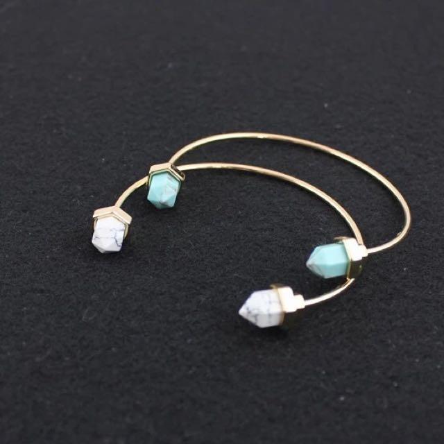 綠松石 白晶石開口造型手環