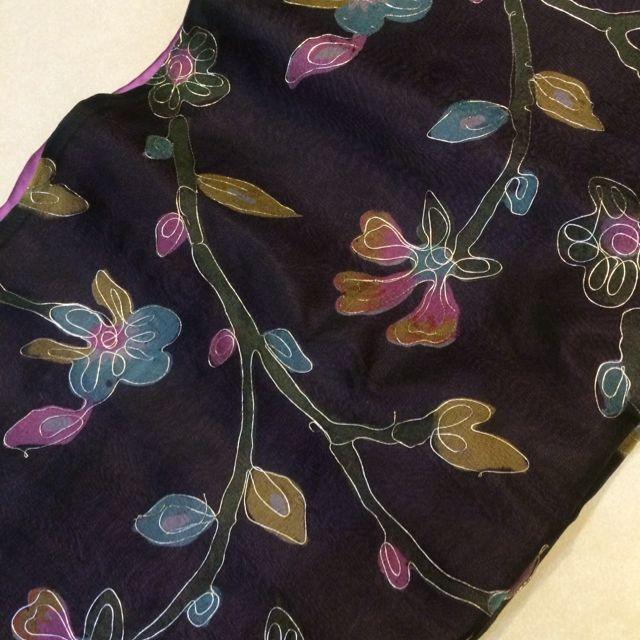 手工金線蠶絲披肩 桃紫