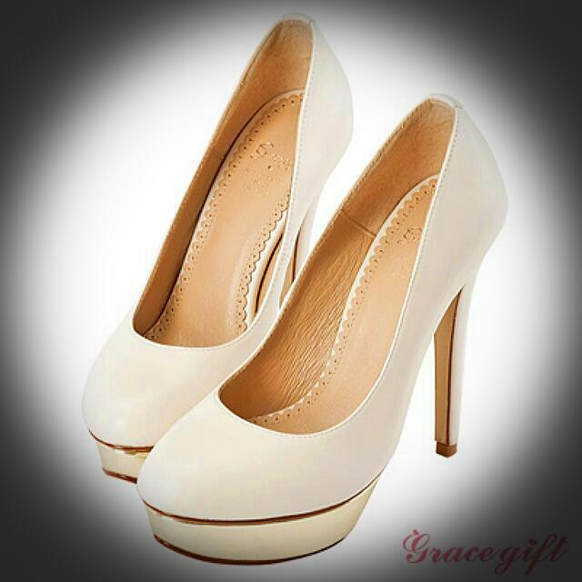 Gracegift 花嫁鞋-素面全真皮防水台高跟鞋-白35