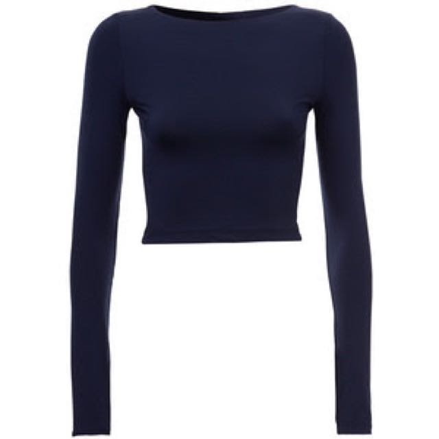 Kookai Cropped Long Sleeve Poly Top In Blue Grey