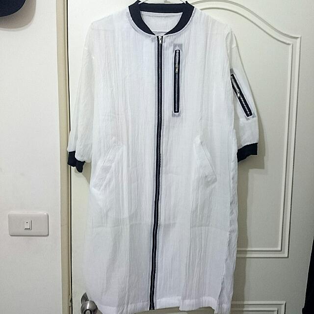 MA-1拉鍊微透長版五分袖棒球外套