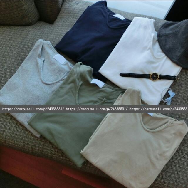 <現貨>棉質寬鬆小U領8分袖T恤-共有五色