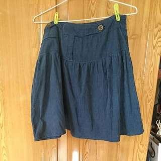 燈芯絨藍色及膝短裙