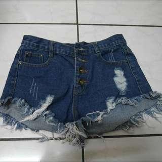 刷色牛仔短褲-全新