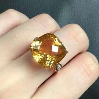 設計師款18K金天然黃水晶戒指