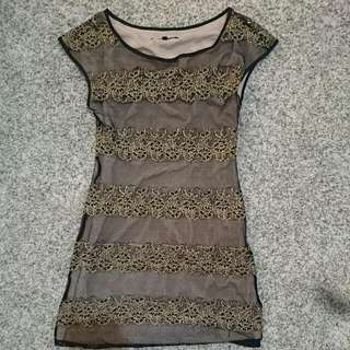 *REDUCED* BN Black Lacey Dress With Gold Tone