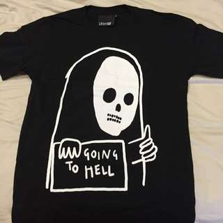 """Lazy Oaf """"Going To Hell"""" Tee Size S not Pigalle Toms Visvim Neighbourhood Dr Denim Fred Perry Yeezy"""