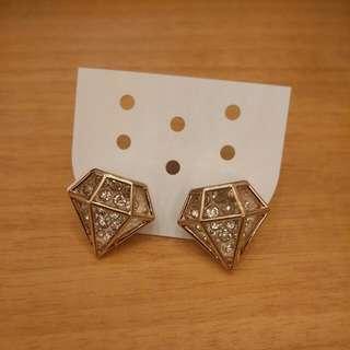 立體鑽石耳環