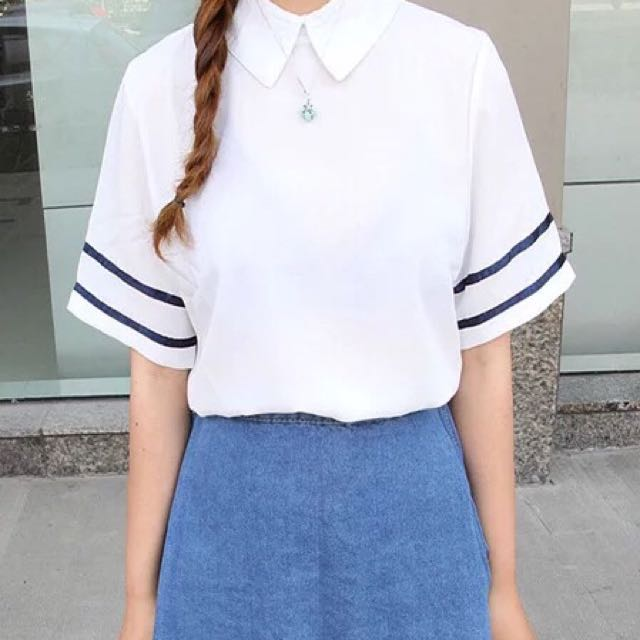 學院風白色襯衫