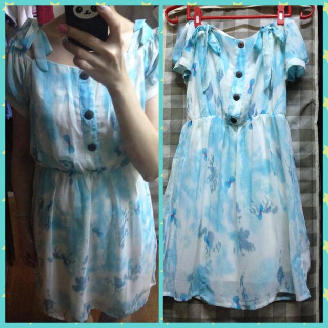 雪紡暈染淺藍洋裝