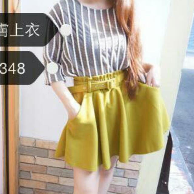擺褶裙🎀短裙-綠