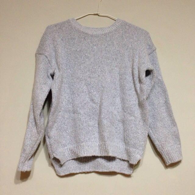 [售出]正韓黑白混紡短版毛衣