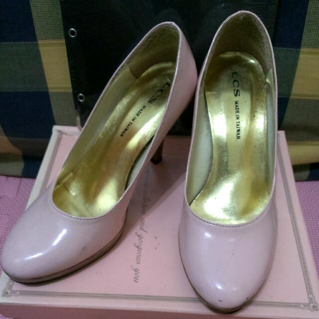 粉紅素色高跟包鞋