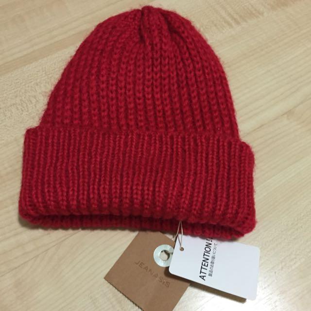 日本👒大紅毛帽