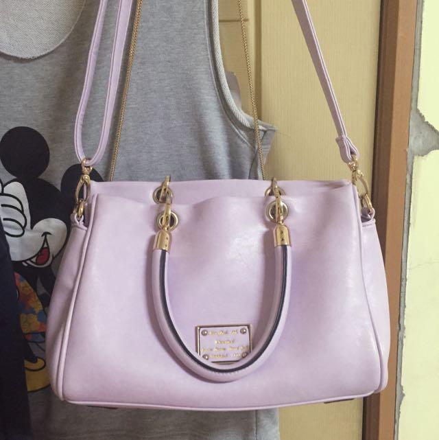 韓系紫色包包 可手提側背