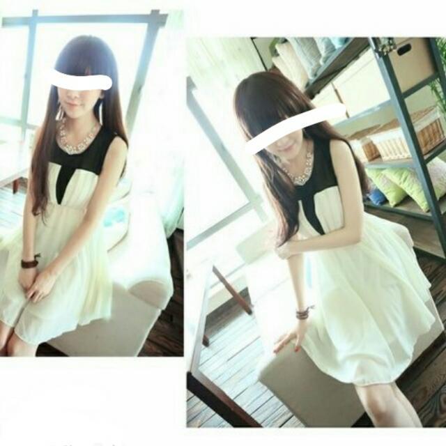 <保留>黑白 無袖 氣質 洋裝禮服 雪紡材質