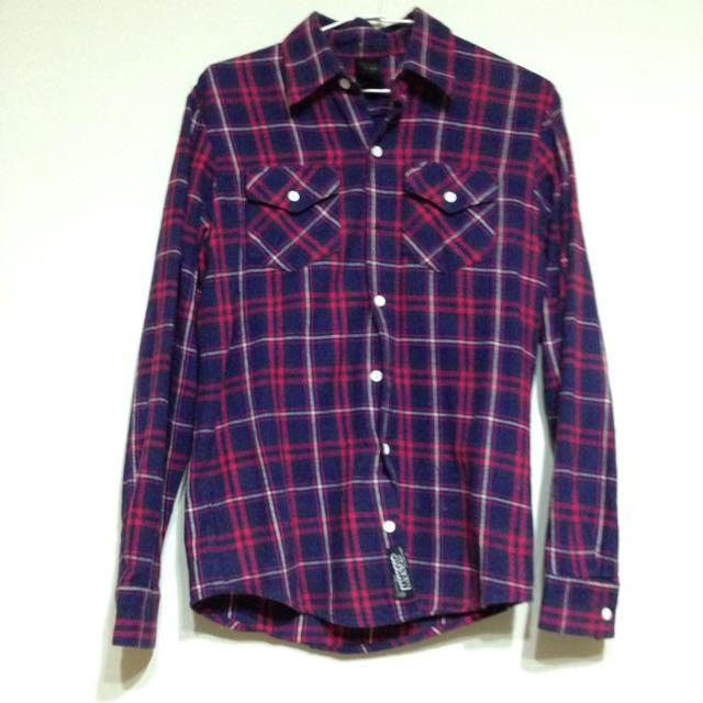 [售出]紅藍格紋毛料襯衫-男M