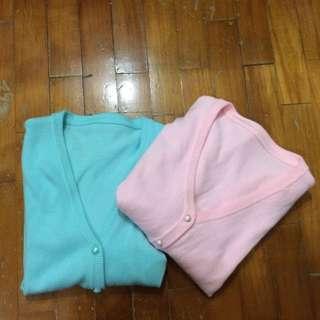 馬卡龍色針織外套 水藍/粉紅