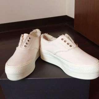韓國Ollie個性抽鬚白色厚底鞋