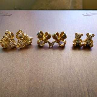 金色立體耳針$80/對