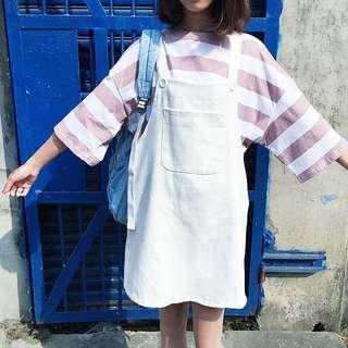 ⚪️白白淨淨寬版吊帶裙⚪️