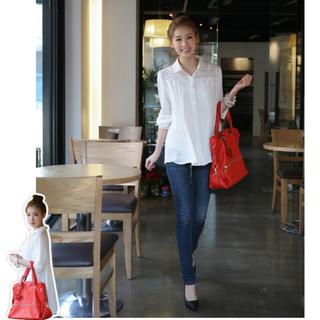 🎉降降降🎉 正韓 cherrykoko高質感肩後背蕾絲簍空長版襯衫