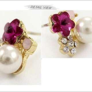 韓國氣質梅花珍珠OL甜美耳環