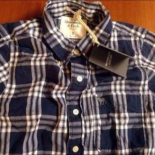 競標品 A&F Abercrombie&Fitch 長袖藍白格文襯衫 全新 M號