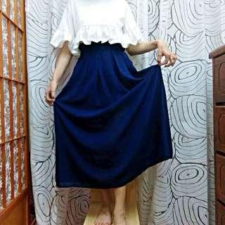 深藍雪紡長裙