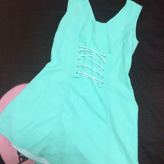 正韓版洋裝,藍綠色(近全新)