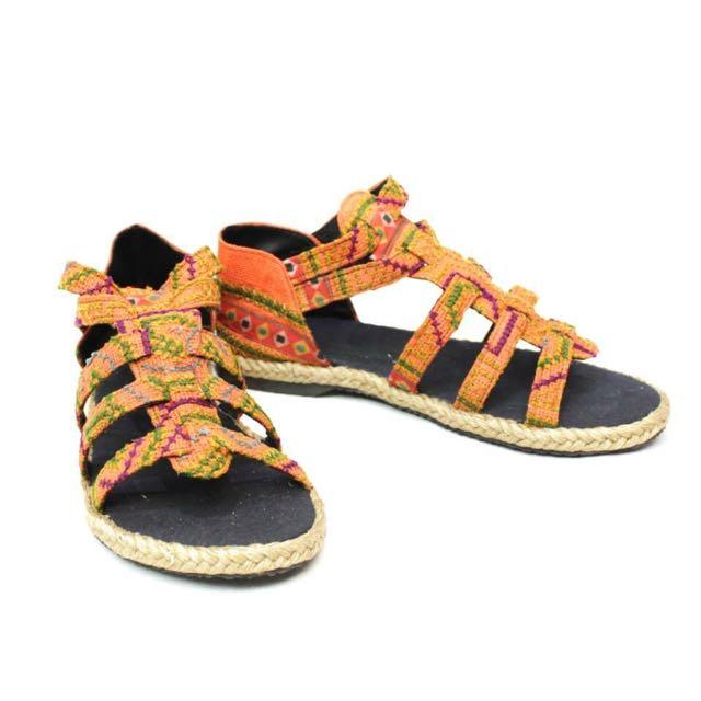 橘色民族風涼鞋