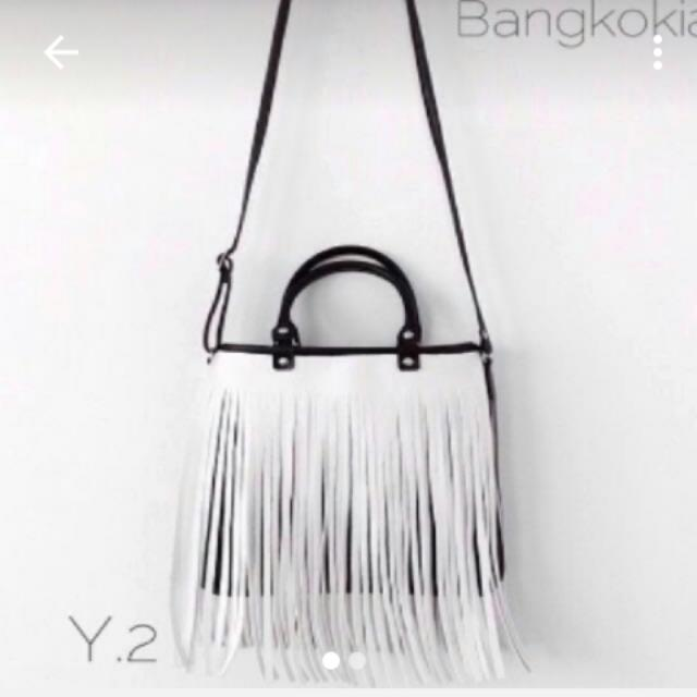時尚流蘇包  bkk包 泰國包 斜背包 手提包 黑白包