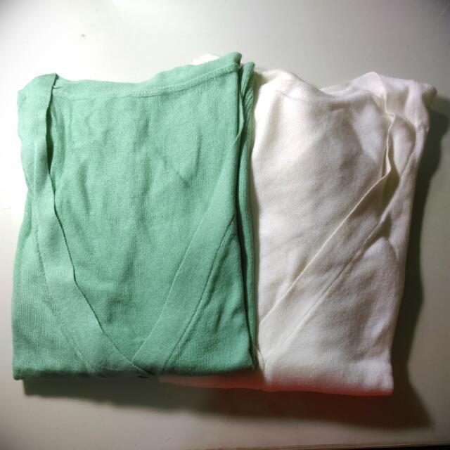 白&草綠色針織外套
