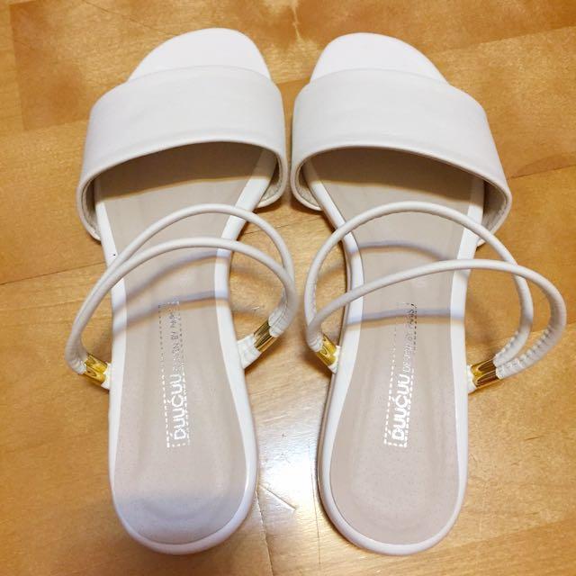 正韓 3way 三穿 白色 雙帶 平底 涼鞋