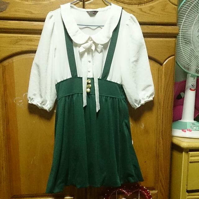 正韓  墨綠吊帶氣質滿分洋裝