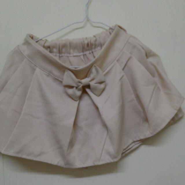 (二手) 杏色超~可愛蝴蝶結褲裙