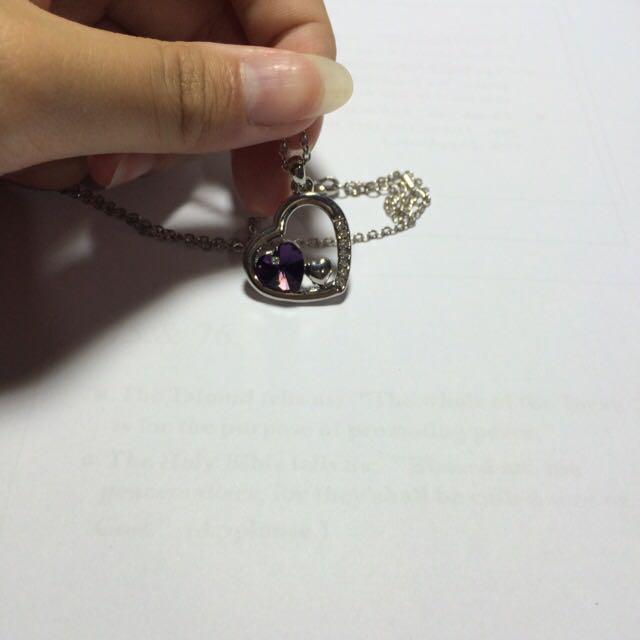 紫心 水晶項鍊 全新