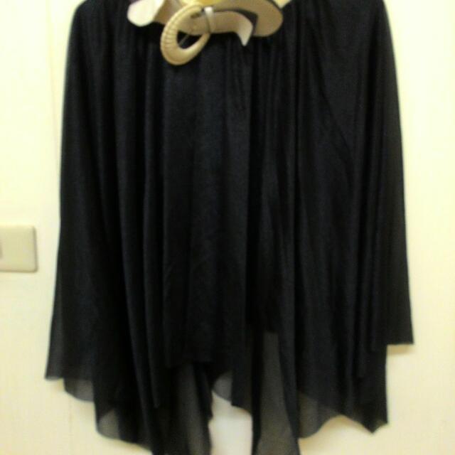 黑色 珠光 下擺不規則 長裙