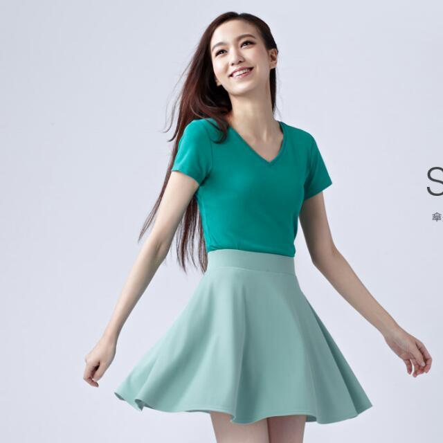 (二手)lativ 傘狀原裙 水綠色