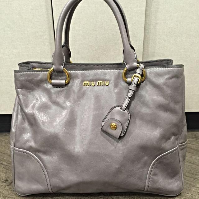 df7072564fc8 Miu Miu Vitello shine shopping Bag