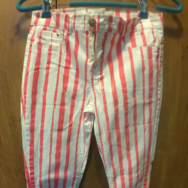 Zara直線條窄管褲(34號s號)