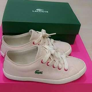 LACOSTE粉色帆布鞋