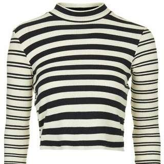 Topshop Long Sleeve Stripe Crop Top