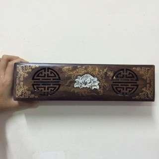 全新/簍空雕花/木雕/筷盒組