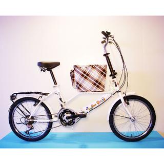 JY (平價版) 20吋 21速 SHIMANO (小籃) 寵物腳踏車 (白色) 拆掉籃子基座變淑女車 寵物籃  另可當親子車(價格另計)