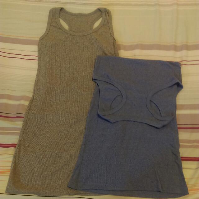 藍色灰色長版背心