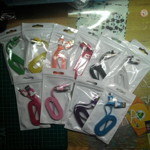 Micro USB 傳輸充電線 彩色麵條系列 多色可選
