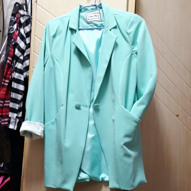 保留🎀Tiffany綠長版西裝外套🎀