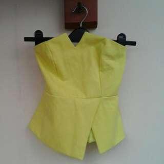 Yellow Neon Assymetric Top